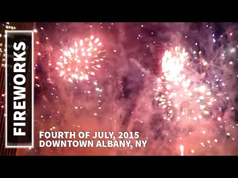 4th of July, 2015 Fireworks Show in Downtown Albany, NY, Empire State Plaza
