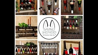 Primitive Handmade Wine Bottle & Stemware Racks