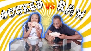 RAW VS COOKED FOOD CHALLENGE || THE G-O FAMILY