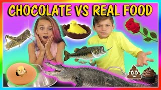 Kayla and Tyler do the Chocolate vs real food challenge! This was s...