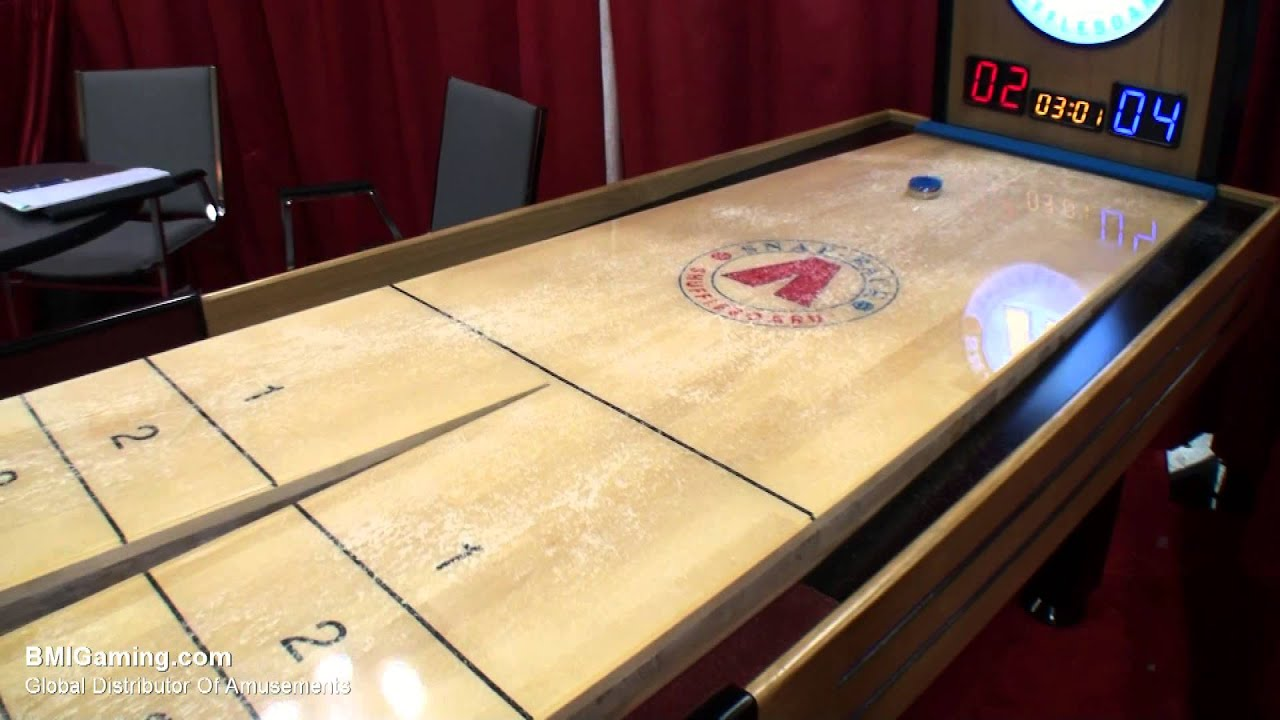 Summit Snapback Rebound Commercial Shuffleboard Table   BMIGaming.com    Mega Mania   YouTube