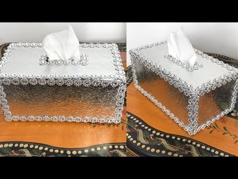 Easy DIY Icey Bright Silvery Glam Tissue Box Cover Home Decor #glamroomdecor #diyroomdecor