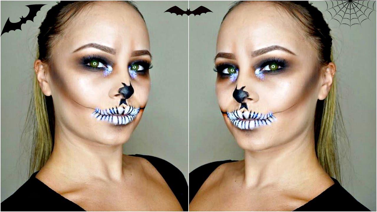 Easy Skull Makeup Tutorial   Halloween Makeup using Glitter - YouTube