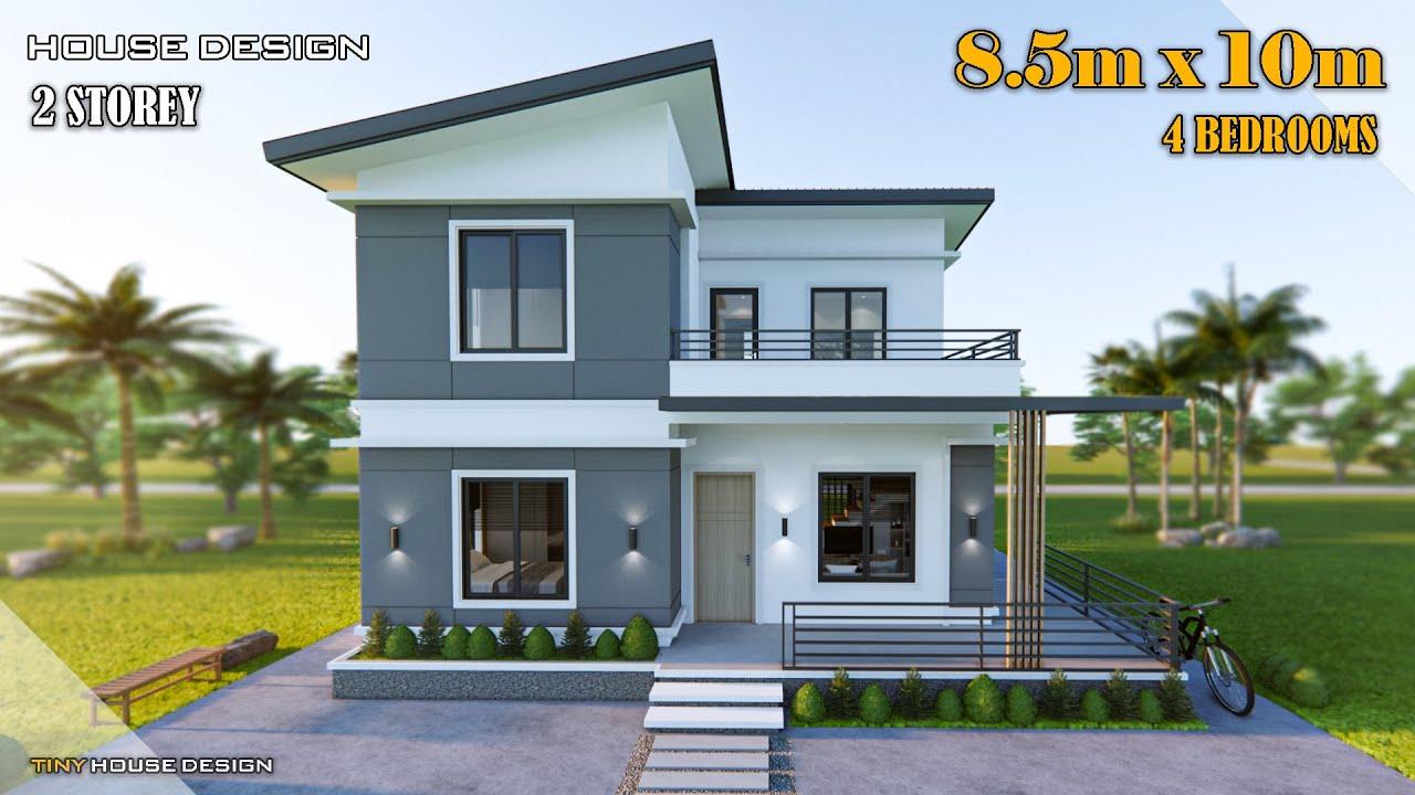 Download House Design 2 Storey | 8.50m x 10m (85 sqm) | 4 Bedrooms