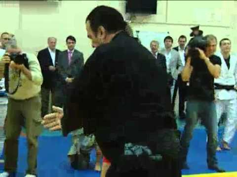 Actor Steven Seagal Gives Master Class At Moscow Martial Arts School