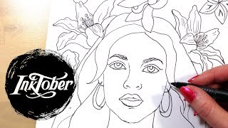 Arab Girl & Little Witch Coloring Pages || Inktober 2017 Speed Drawings