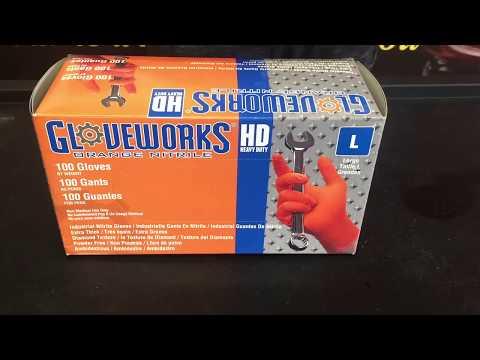 GloveWorks Orange Nitrile Gloves