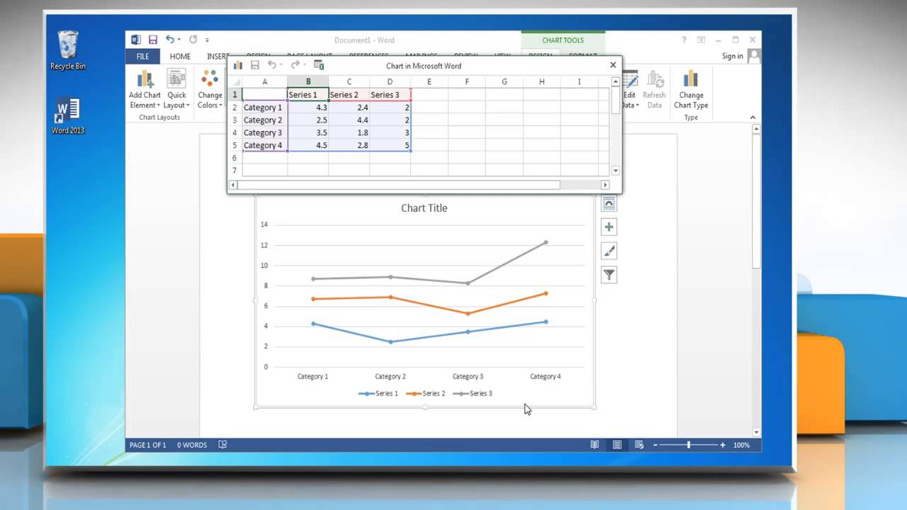 How to Make a Line Graph in Word 2013 - YouTube