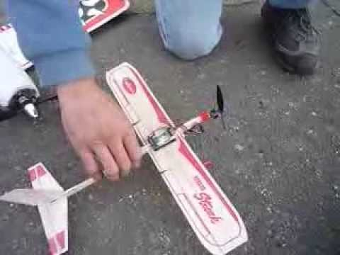 Guillow S Rubber Band Plane Converted To Rc Youtube