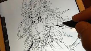 Speed drawing SSJ5 Goku black - Dragon ball super  七龍珠繪畫過程 黑悟空超級撒雅人5變身