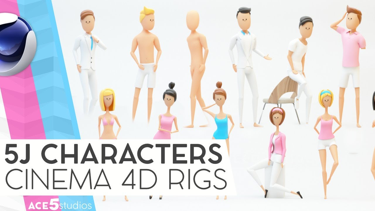 5J Rigged Human Characters for Cinema 4D