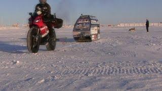 Sjaak Lucassen Yamaha R1 Polar Ice Ride - Part #30 - Test Ride with Sled