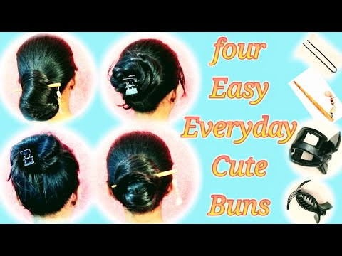4 Easy Everyday Cute Buns hairstyle ( juda hairstyle) thumbnail