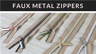 Faux Metal Handbag Zippers by the Yard