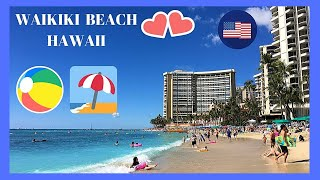 HAWAII, walking tour of the magnificent BEACH of WAIKIKI (island of O