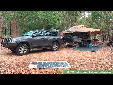 150W folding, flexible solar panel demonstration