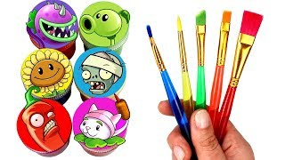 Plants vs. Zombies Drawing & Painting with Surprise Toys PVZ Peashooter Sunflower Chomper Toys