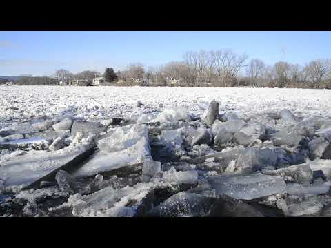 ice flowing down the Mohawk river
