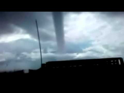 Water tornado hits land in US