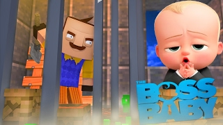 Minecraft Baby Hello Neighbor - THE BOSS BABY HAS TRAPPED THE NEIGHBOR - Little Club Baby Max