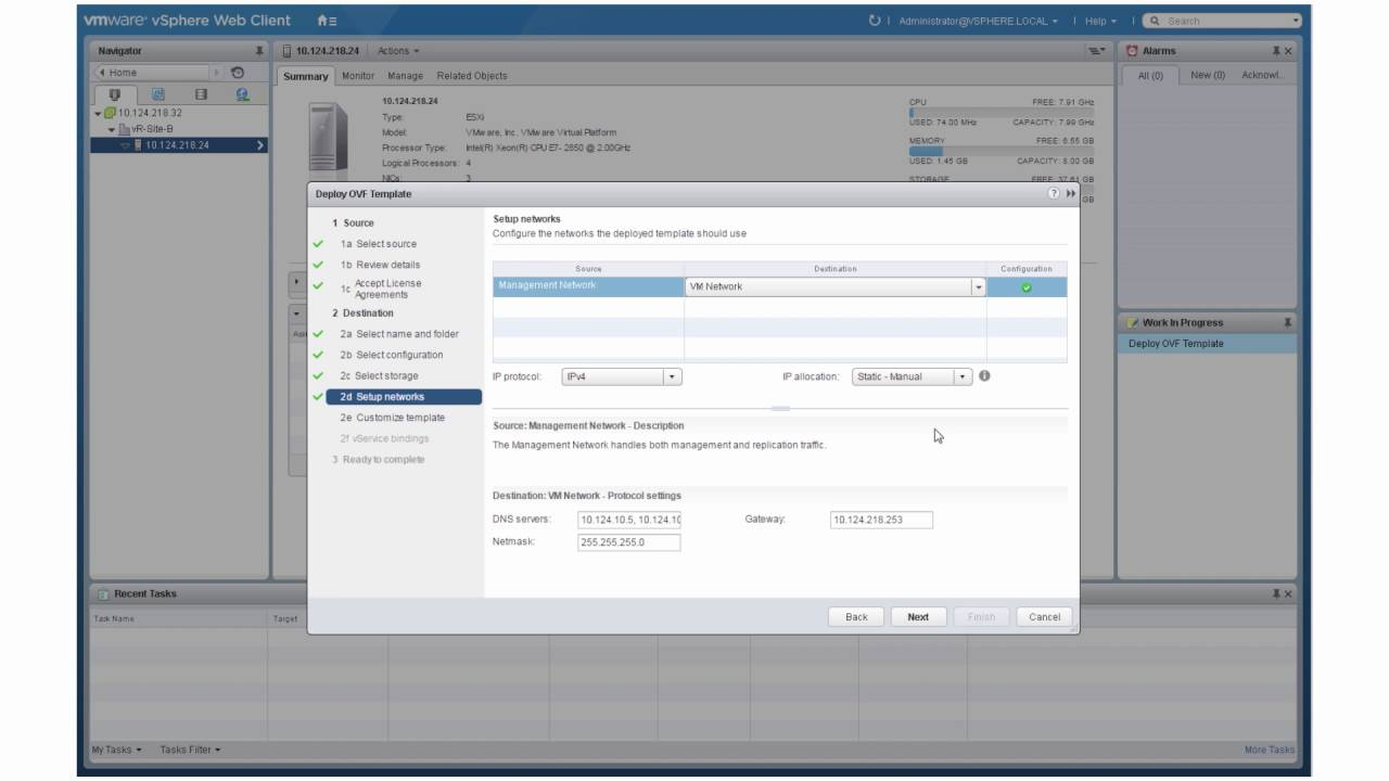 Deploying the vSphere Replication Appliance through the vSphere Web Client