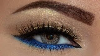 Repeat youtube video EASY Gold & Blue makeup look...مكياج ذهبي و أزرق سهل جدا