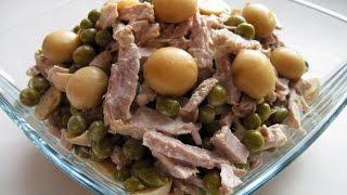 Вкуснейший салат с мясом, грибами и зелёным горошком / Пошаговый рецепт