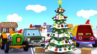 Новогодний мультфильм для детей Грузовик Тема и Новый год Машинки украшают новогоднюю елку