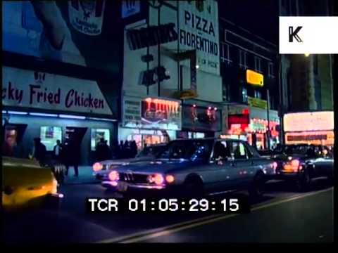 Driving through 1980 New York at Night, Times Square, Broadway
