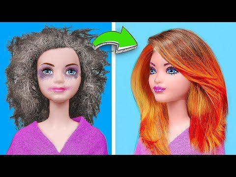 Clever Barbie Hacks vs Disney Princess Hacks Challenge! 13 Dolls Hacks And Crafts