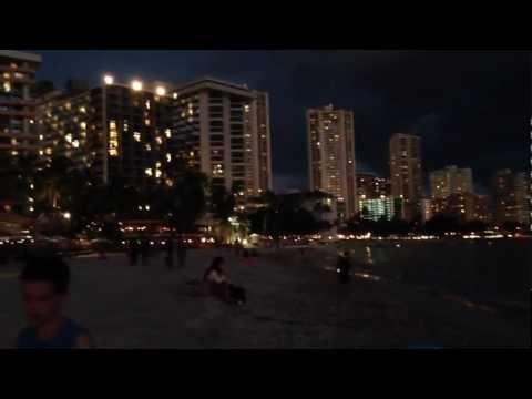 Waikiki beach Hawaii at night
