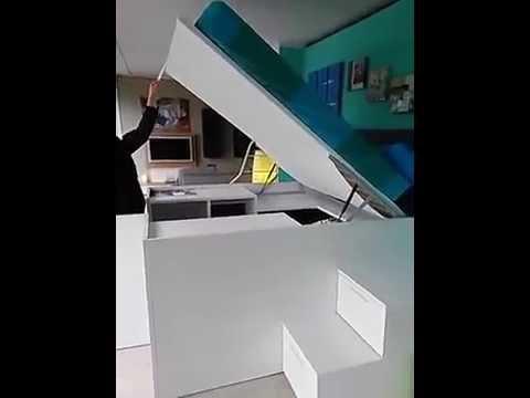Container il letto con larmadio sotto  YouTube