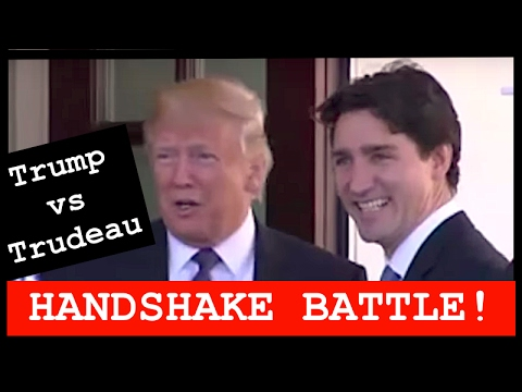 The Trump and Trudeau Handshake... Did Justin survive the Trump Yank and Pull?