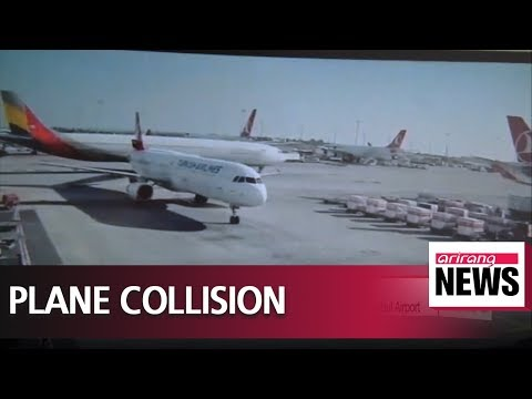 Asiana Airlines plane cuts through Turkish Airlines plane's tail while taxiing at Istanbul Airport