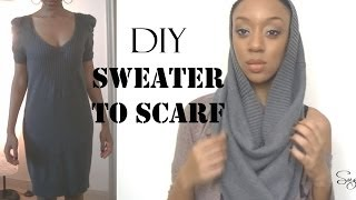 DIY *No Sew* Sweater to Infinity Scarf - SugarStil