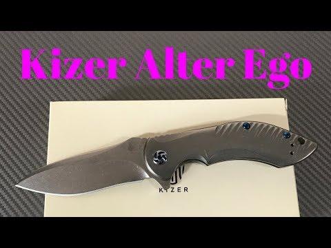 Kizer Alter Ego Ki4492 titanium framelock flipper knife with S35VN blade steel