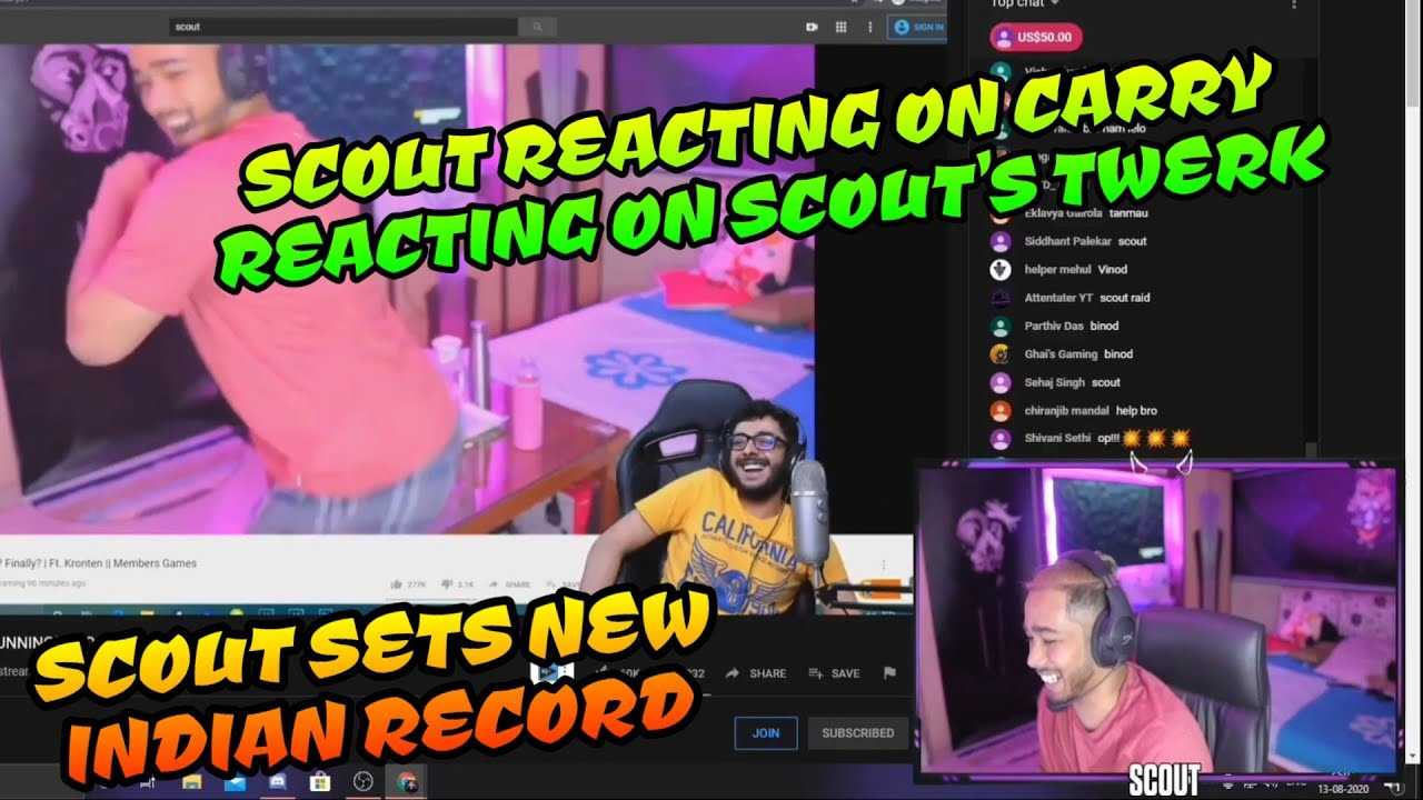 Scout Reacting On Carry Reacting on Scout's Twerking Live, Scout Sets New Record Live Watching India