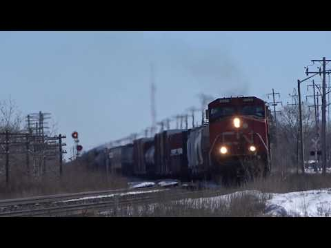 (4K) CN Freight leaving Winnipeg with all GE Power at Carman Junction! (03/9/18)