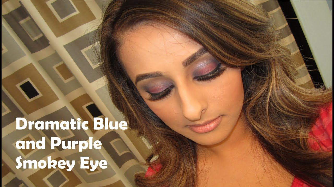 dramatic blue and purple smokey eye makeup tutorial