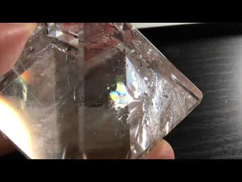 金字塔 白水晶 彩虹光 晶體乾淨 雲霧漂亮 邊長5.5cm 價格優惠喔 編號904
