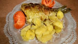 Карась запеченный в духовке с картошкой. Быстрый ужин.