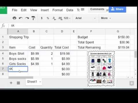 Creating a budget sheet in Google Sheets - YouTube - creating a budget