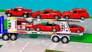 Мультфильмы про автовоз, Большой автовоз перевозит машинки. Сборник мультиков Часть 3