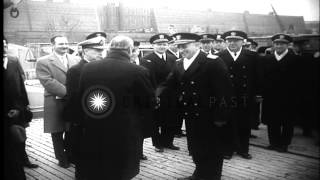 Chile Flag is raised to fore top of the USS Brooklyn and USS Nashville docked at ...HD Stock Footage