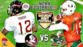 NCAA Football 17 | #23 FSU vs #10 MIAMI Rivalry Game | Saturday Night Football Kick-Off Gameplay!