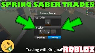 SPRING SABER FOR LORD SINISTER TRADE! (ROBLOX ASSASSIN SPRING SABER TRADES) *IS IT WORTH IT?*