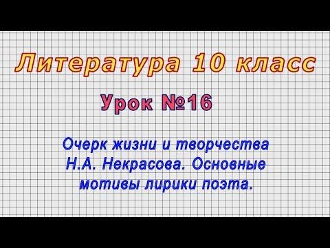 Литература 10 класс (Урок№16 - Очерк жизни и творчества Н.А. Некрасова. Мотивы лирики поэта.)
