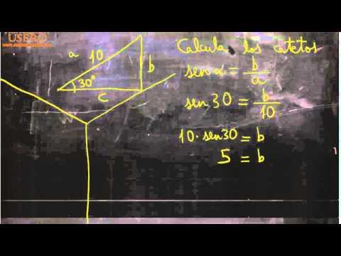 Dadas hipotenusa y ángulo, calcular cateto 03 Matemáticas Acceso CFGS Academia Usero