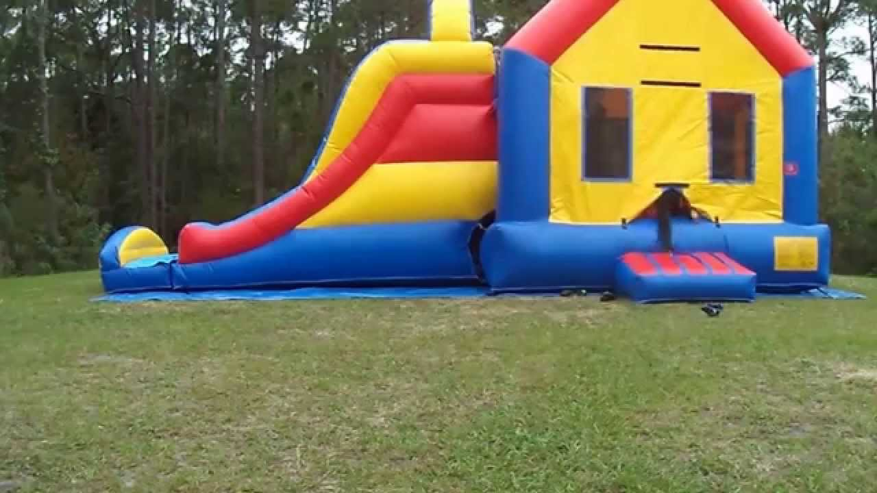 Rainbow Bounce House setup - YouTube