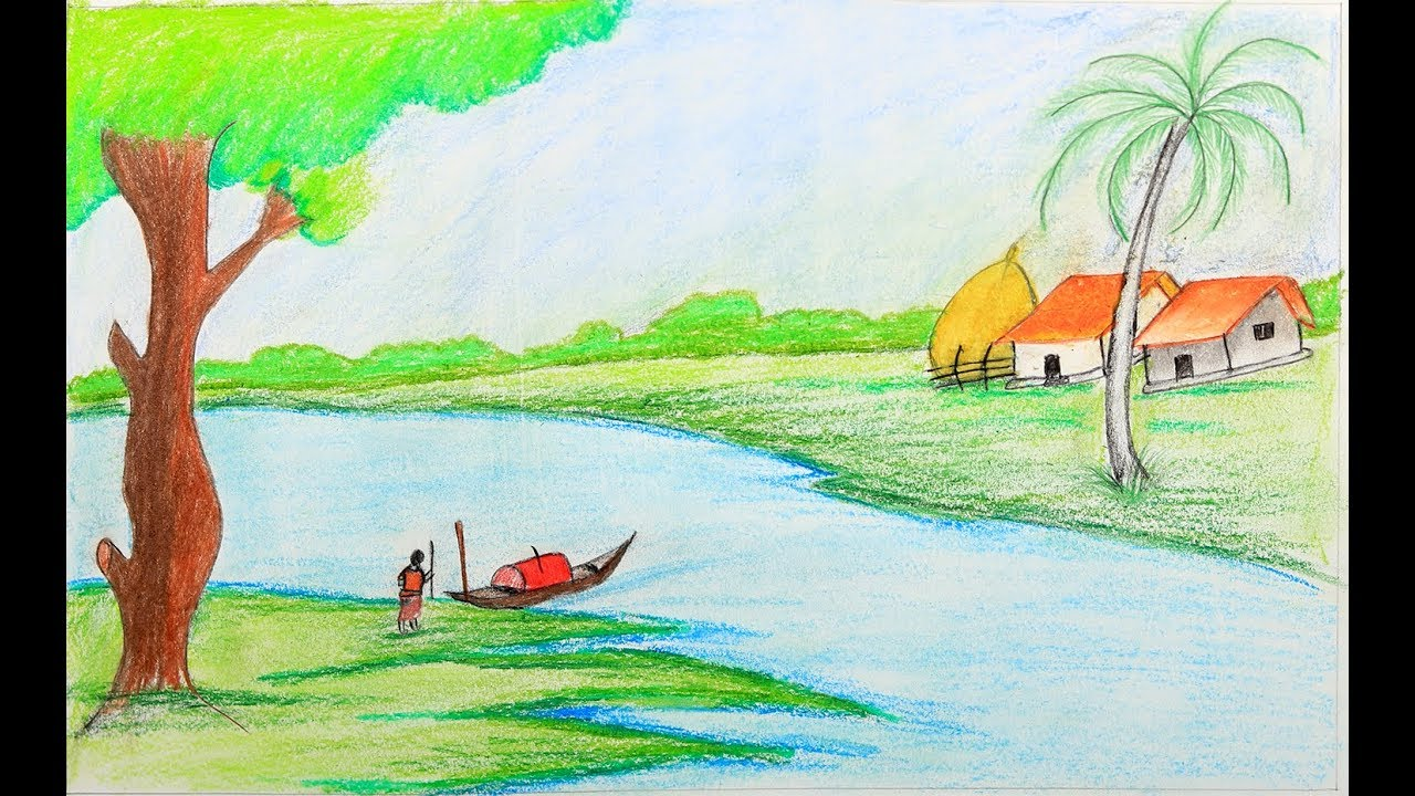 How to draw a village scenery step by step with oil pastel